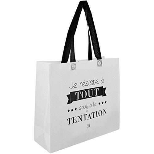 Promobo Sac Pour Course Shopping Cabas Citation Je Résiste A La Tentation Blanc