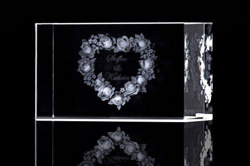 VIP-LASER 3D Glaskristall XL Rosenherz mit 2 Namen graviert - das persönliche Geschenk!