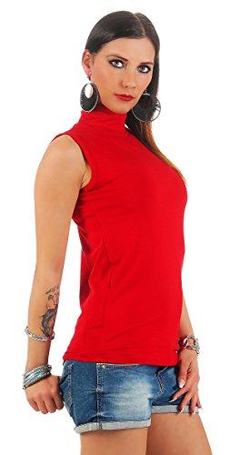 BALI Lingerie - Damen Ärmellos Shirt Rollkragen T-Shirt Top - S M L XL (M/L, Rot) -