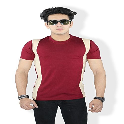 Harvi.com Harvi Maroon and Cream Color Round Neck T-Shirt for Mens Short Sleeve with Side Patch