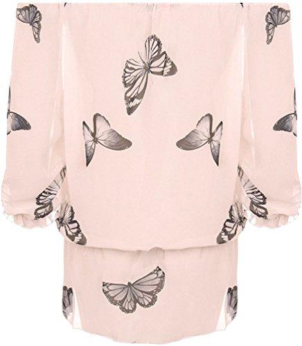 Damen Schmetterling Bedruckt Chiffon Schulterfrei Gypsy Boho Schier Damen Oberteil Hautfarben