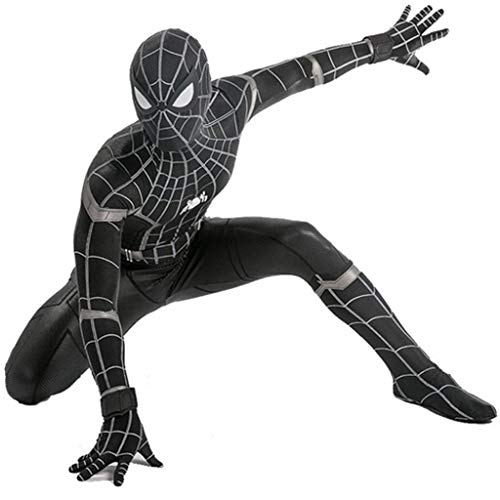 Spiderman Marvel Kostüm Kinder Cosplay Avengers Schwarz Spider-Man Overall Halloween Jungen Thema Party 3D Kostüme Kostüm für Kind,Schwarz,XL (Spiderman Kostüm Schuhe)