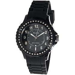 Nuvo - NU160 - Armbanduhr für Damen - Quartz - Analog - Schwarzes Armband aus Silikon - Schwarzes Zifferblatt - Swarovski Elemente und Diamanten - Modisch - Elegant - Stylish