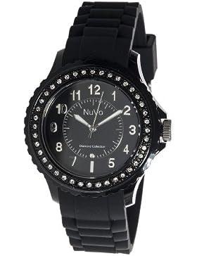 Nuvo - NU160 - Armbanduhr für Damen - Quartz - Analog - Schwarzes Armband aus Silikon - Schwarzes Zifferblatt...