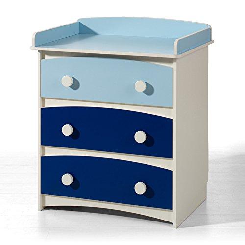 Cómoda 3 cajones. Color Blanco-Azul Marino. En parte