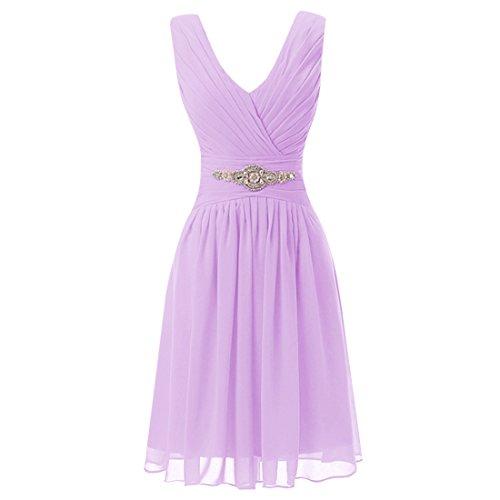 Find Dress Sexy Robe de Soirée Courte Grande Taille pour Cérémonie sans Manches Plissé Robe Demoiselle d'Honneur Mariage Femme Col en V en Mousseline avec Appliques Lavande