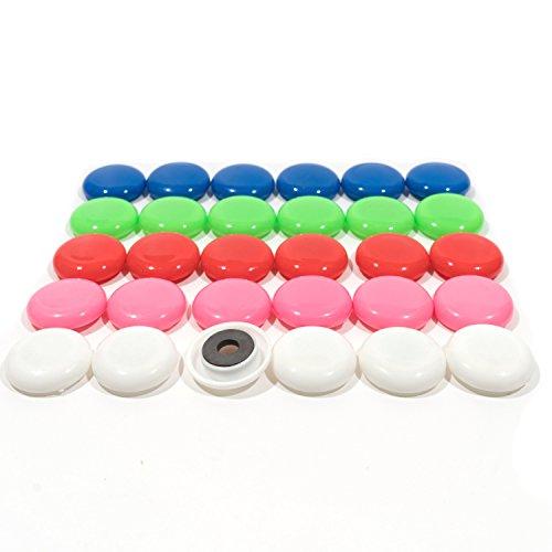30x Magnete I Bunt I Ø 30mm, Kühlschrankmagnete I Haftmagnete für Magnetwand I Runde Magnete bunt I Bunte Magnete