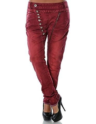 Damen Boyfriend Jeans Hose Reißverschluss Knopfleiste (weitere Farben) No 14145, Farbe:Bordeaux;Größe:48 /