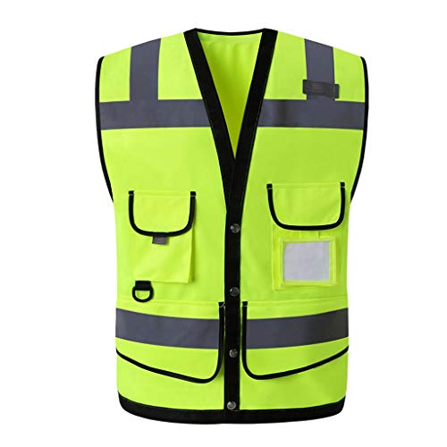 Sicherheitsweste Overalls Verkehr BAU Sicherheit Große Taschen Reflektierende Weste Sicherheitsjacke Reflektierendes Logo und Knöpfe (Color : Fluorescent Yellow) -