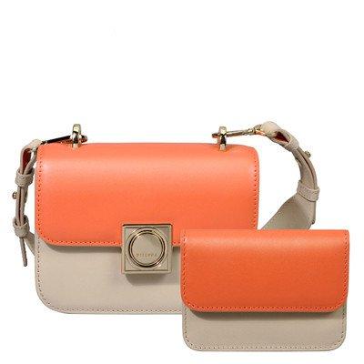 SZJZ Borsa tracolla in pelle Messenger Bag borsa in pelle sono piccoli ripieni di steamed bun madre bag,grigio scuro Pastel orange