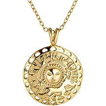 Medaillon mit Glücksbringer Anhänger von BRANDLINGER SCHMUCK. Amulett aus  925 Sterling Silber mit 14K Gold b0daeff629