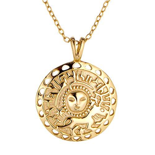 Goldkette Damen als Kette Damen oder Medaillon. Amulett aus 925 Sterling Silber mit 14K Gold Plattierung. Länge der Halskette Damen 45+5cm. Schmuck Damen designed in Deutschland. (Schmuck Gold Medaillons)