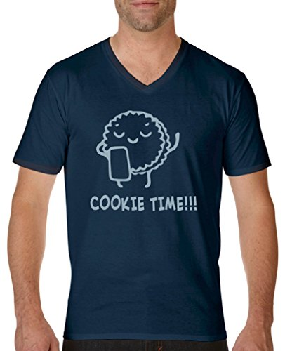 Comedy Shirts - Cookie time! Keks - Herren V-Neck T-Shirt - Navy/Eisblau Gr. M - Wanderer Cookies