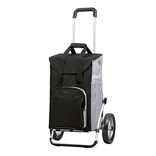 Sondermodell Andersen Einkaufstrolley Royal Dante & Einkaufstasche schwarz/weiß mit Kühlfach | Einkaufswagen mit großen Rädern | Trolley Gestell Aluminium klappbar