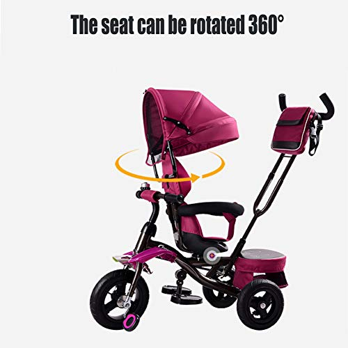 GSDZSY Children Tricycle Baby Stroller 3 In1,with Removable Push Handle Bar,Damping Rubber Wheel (non-inflated),Stylish And Comfortable,1.5-6 Years, 80-120cm,C  GSDZSY