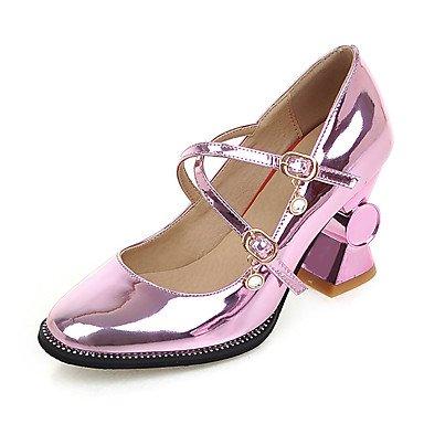 Talons féminins Printemps Été Automne Hiver Chaussures de club En cuir verni Mariage et soirée Robe de soirée Chunky Heel Buckle Purple Silver Gold Silver