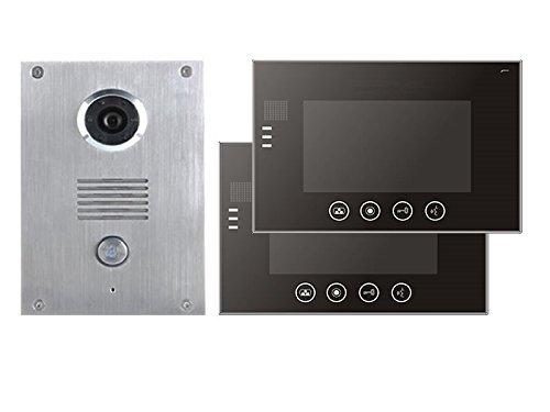 4 Draht Video Türsprechanlage Gegensprechanlage 7\'\' Monitor Klingel Farb Kamera (schwarz 2 Monitore)