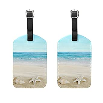 COOSUN Landscape With Shells On Tropical Beach Luggage Tags Travel Labels Tag Name Card Holder for Baggage Suitcase Bag Backpacks, 2 PCS