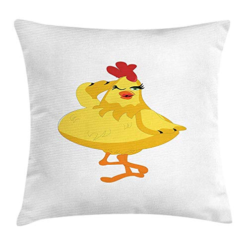 VVIANS Chicken Throw Pillow Cushion Cover, Posing Chicken in Cartoon Style Abstract Funny Illustration of Farm Animals, Decorative Square Accent Pillow Case, 18 X 18 Inches, Yellow Orange Red