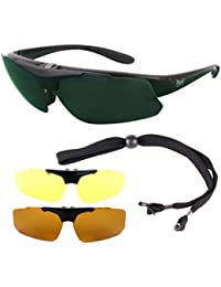 Rapid Eyewear Black Rx GOLF SUNGLASSES Frame for Prescription Spectacle Wearers, With Interchangeable Polarized Lenses. Suitable for Distance, Bifocal & Varifocal Glazing. Glasses For Men & Women