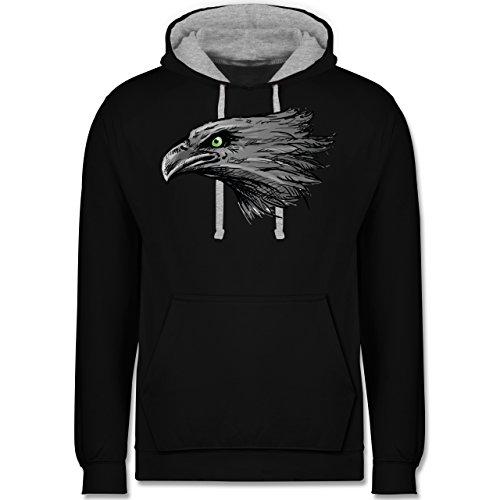 Vögel - Adler - Kontrast Hoodie Schwarz/Grau Meliert