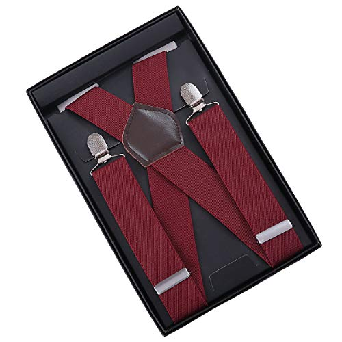 Bretelle uomo kangdai bretelle per uomo 4 fibbie x dietro a righe uomo bretelle durevoli bretelle regolabili elastiche clip di metallo forte (wine)