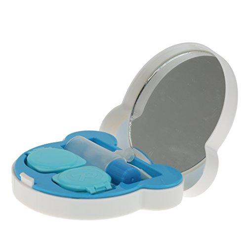 Sharplace Kontaktlinsenbehälter Damen Herren Kinder Reise Diesereise Schule Linsenbox mit Spiegel - Blau (Linsenbehälter Spiegel)