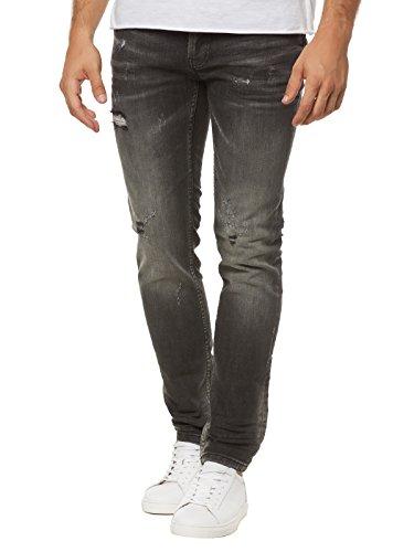 Tigha Herren Slim Jeans Morten Grau (Dark Grey 704)
