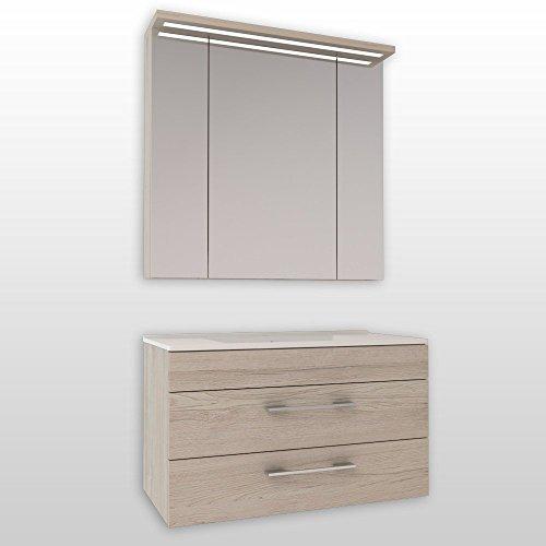 Badmöbel Set Creme Monaco Eiche Hellbraun mit Spiegelschrank und Waschtischunterschrank mit Waschbecken 90 cm / Badezimmer Möbel / 2 Teilig / mit Soft-Close-System und LED Beleuchtung