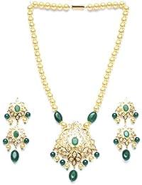 Zevarcraft Alloy Green And Gold Color Necklace Set For Women Ze-007