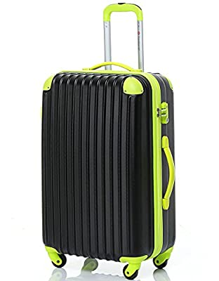 "Travelhouse Hard shell Lightweight Travel Luggage Suitcase- 4 Wheel Spinner Trolley Bag (20"", black & green)"