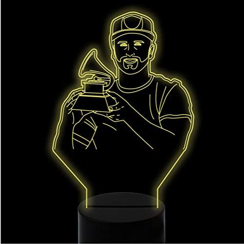 ern 3D Visuelle Led Sängerin Halten Kleine Phonographen Modellierung Nachtlicht Kinder Touch Usb Musical Schreibtischlampe Trophäe Decor ()