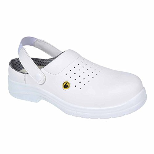 Portwest FC03WHR44 Sandalo di Sicurezza Traforato SB AE ESD in Composito, Bianco, 44 Bianco (bianco)