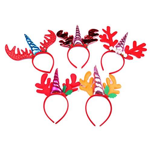 Lurrose 5pcs Einhorn Stirnbänder Hirsch Haarbänder Haarschmuck für Halloween Weihnachten