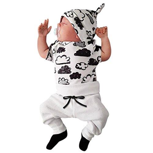 SHOBDW Boys Clothing Sets, 3PCS Newborn Baby Boy Cute Set Romper Tops+Long Pants Hat Outfits Clothes (3-6 Months, Short-Clouds)