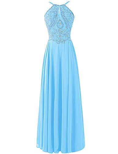 Dresstells, Robe de soirée Robe de cérémonie Robe de gala emperléedos nu bretelles spaghetti Bleu