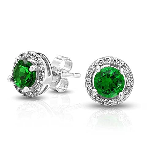Crown Set Simulated Emerald CZ Stud Earrings Sterling Silver