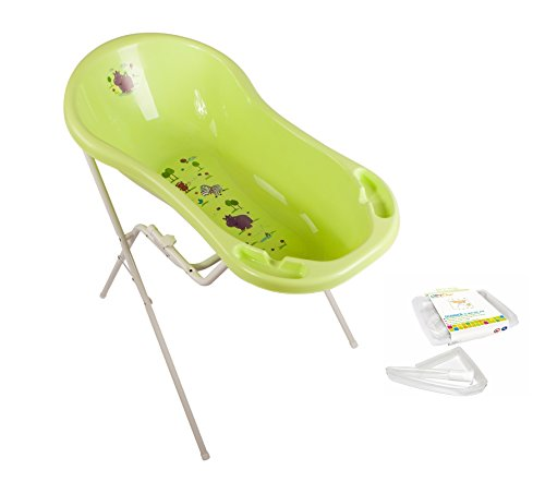 Hippo grün Baby Badewanne XXL 100 cm mit Stöpsel + Badewannenständer + Ablaufschlauch