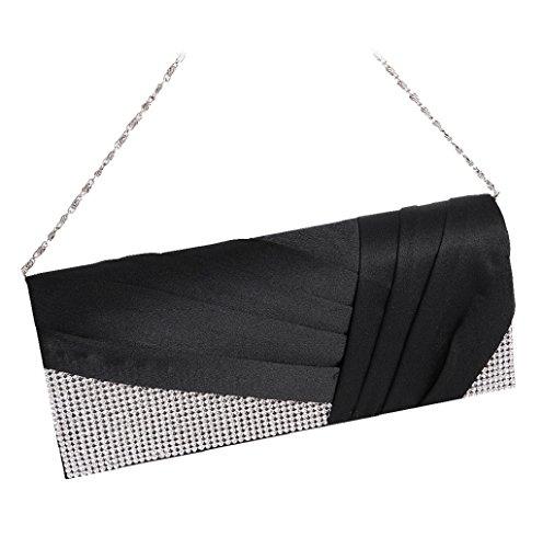 Dairyshop Borsa della borsa del cocktail di cerimonia nuziale della borsa della frizione delle donne di cristallo pieghettate (Royal Blue) Nero