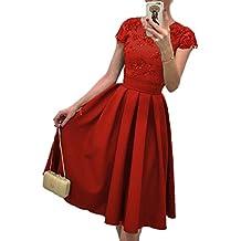 Elegante Manga Corta Vestido Sundress Para Fiesta Midi Dress Vestidos de Encaje Floral Fiesta Bodas Cóctel Slim Falda Mujeres