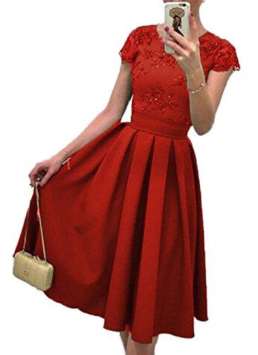 Cocktail vestito Vestito in Pizzo da Donna Estivi Vintage Vestito Elegante Vestiti Partito vestito Festa vestito Rosso
