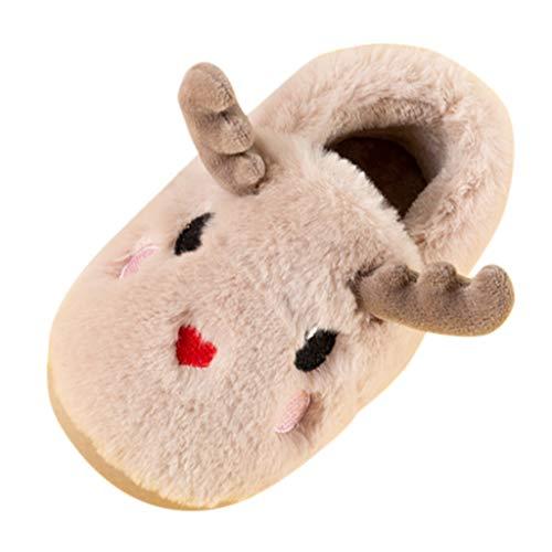 BoyYang Weihnachten Süßes Kitz Kinder Hausschuhe Plüsch Kinderschuhe Baumwolle Pantoffeln Warme Weiche rutschfeste Sohle für Kleinkinder Niedliche Hüttenschuhe für Mädchen und Jungen(30 EU,Khaki