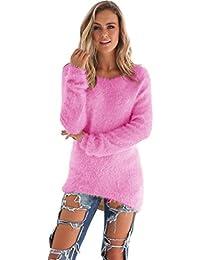 Felpe Maglione Donna Yanhoo Donna casuale solido manica lunga maglione  maglie camicetta 6619535be3c