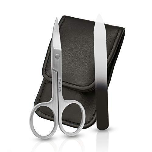 Wertes - Premium Nagelscheren Set mit gebogener und spitzer Schneide - inklusive Bonus Glasnagelfeile und Lederetui