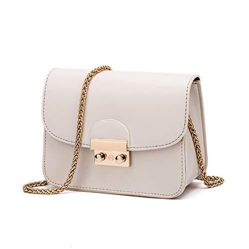 Damen pu Leder umhängetasche Abend Clutch Handtasche Crossbody Tasche mit Metall-Kette Armband-Weiß 18x8x13cm(7x3x5inch) - Armband-handle-handtasche