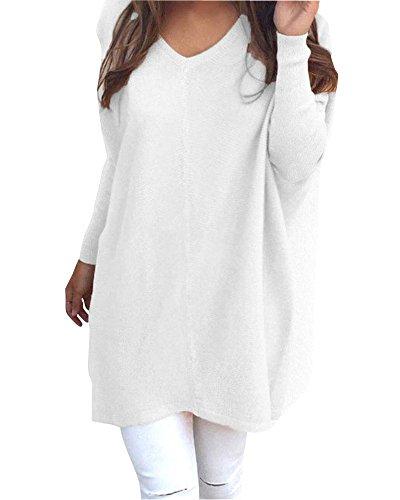 Damen Lange Ärmel Unterhemd Stretch Sweater Pullover Strick Langshirt Bluse Top Casual Weiß S