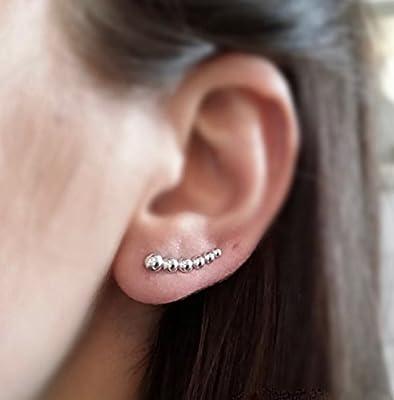 Boucles d'oreilles ear-cuff petites boules argent - boucles d'oreilles barettes, contours de lobes argent 925/1000