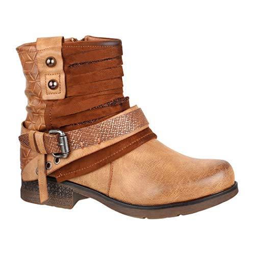 Elara Damen Biker Boots | Metallic Prints Schnallen | Nieten Stiefeletten Lederoptik | Gefüttert 8263 Camel-36
