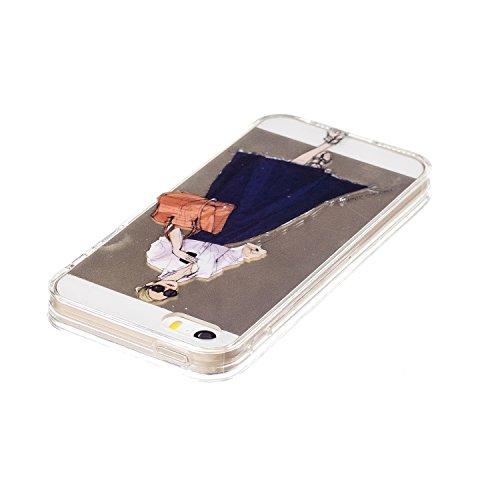 Felfy Schutzhülle iPhone 5S Silikon,iPhone 5S Hülle Transparent Muster,Handyhülle iPhone SE Silikon Ultradünnen Weich TPU Silikon Kreatives Marmor Zitrone Wassermelone Pizza Muster Crystal Klar Schutz Kühles Mädchen