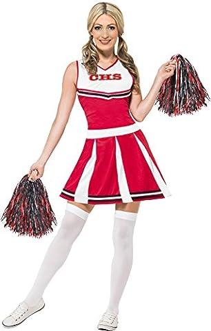 Smiffys Déguisement Femme, Pom-pom girl, avec robe et pompons, Taille 40-42, Couleur: Rouge, 40065